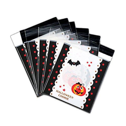Cosanter 100 Stück Transparente Verpackungsbeutel für Halloween Keks Süßigkeiten, Selbstklebende Kleine Tasche, Kürbis-Muster 10x10cm (Halloween Cellophan)