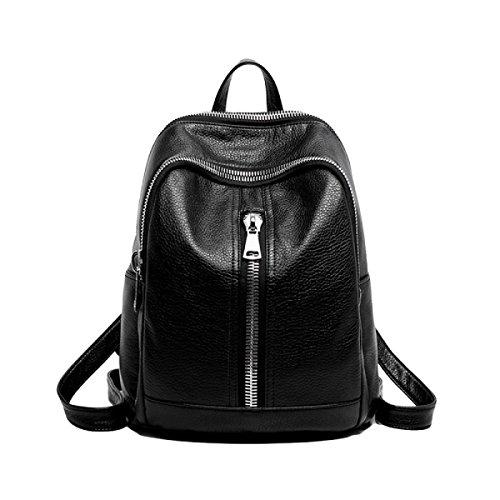 Gewaschenes Leder Rucksack Jugend Mode Weiblichen Schultertasche Einfache Freizeit Trend Tasche,Black-OneSize