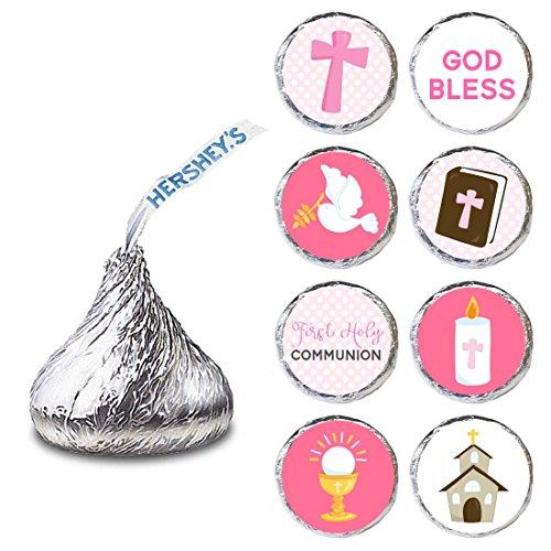 Adorebynat Party Decorations - EU Niñas Primera Comunión Etiqueta de Hershey Kisses S Chocolates - Dulces pegatinas - Set de 240