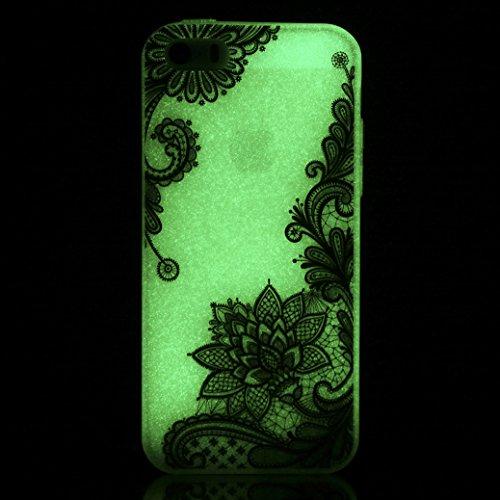 Custodia iPhone 5/5S/SE AllDo Custodia in Silicone Luminoso Bagliore nel Buio Cover di Gomma Trasparente Custodia Liscio Leggero Case Disegno di Modello Stampato Custodia Morbida Flessibile con Botton Loto Nero