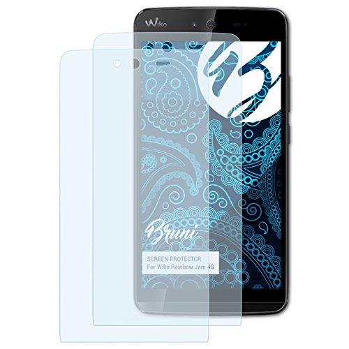 Bruni Schutzfolie für Wiko Rainbow Jam 4G Folie, glasklare Bildschirmschutzfolie (2X)