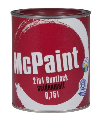 McPaint 2in1 Buntlack Grundierung und Lack in einem für Innen und Außen. PU verstärkt - speziell für Möbel und Kinderspielzeug seidenmatt Farbton: RAL 3004 Purpurrot 0,75 Liter - Andere Farben verfügbar