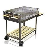 Barbecue-Grill in acciaio inox portatile con griglia per carbonella regolabile in altezza superficie cottura 6000 cm²   145 x 92 x 60 cm
