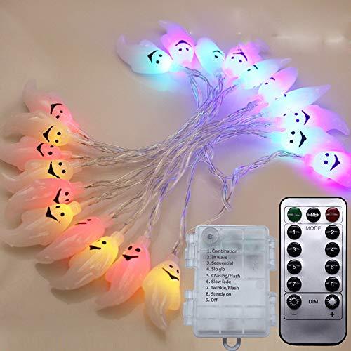 Lichterkette FeiliandaJJ 2M 20LED IP65 Wasserdicht 8 Modi Halloween Gespenst LED Licht Hochzeit Party Halloween Innen/Außen Haus Deko String Lights mit Fernbedienung (Mehrfarbig)