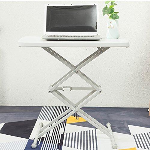 HAKN Table pliante / Réglage de la hauteur / Table pour ordinateur portable / Petite table à manger / Bureau pour enfants / Table carrée portative extérieure ( Couleur : Blanc )