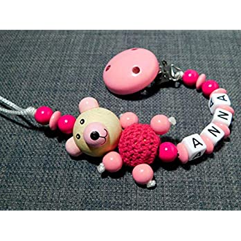 Schnullerkette mit Namen für Mädchen in pink-rosa mit Bärchen-geschenk zur Geburt-Schnullerhalter
