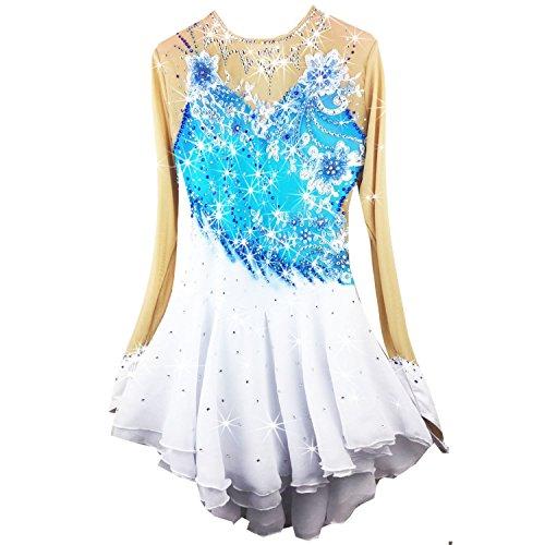 Eislaufen Kostüm Kleid - Heart&M Handgefertigt Eiskunstlauf Kleid für Mädchen Rollschuhkleid Malerei Eislaufen Wettbewerb Kostüm Langärmeliges Eislauf Kleider Mint Applikationen Blau Weiß, 14
