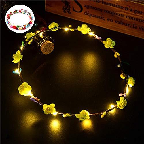 nz Stirnband mit 3 Beleuchtungs-Modi, leuchtende Blumen-Haarbänder für Frauen gelb ()
