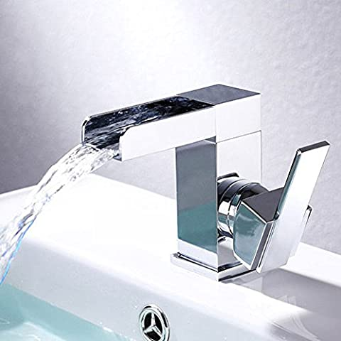 Wasserfall einzigen Griff Bohrung Messing verchromt Mini Badezimmer Waschtisch Armatur Wasserhahn Tippen