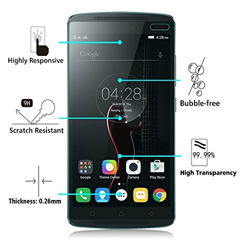 Lenovo K4 Note/K 4 Note Formal Funky™ Tempered Glass Screen Protector with Microfiber Cloth, Alcohol Swab and Placement Instructions /Curved Corners/Clear/Bubble free Placement/Scratch Resistant,,