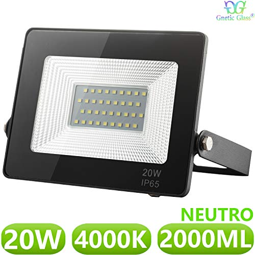 Foco LED exterior Floodlight 20W GNETIC GLASS Proyector Negro Impermeable IP65 2000LM...