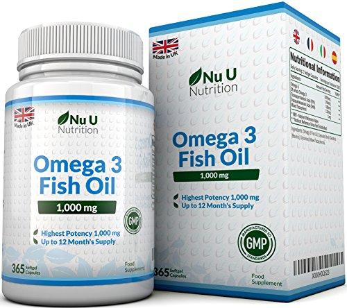 Omega 3 Fish Oil 1000 mg - Huile de poisson/oméga-3 - Cure d'1 An/365 Gélules - Compléments alimentaires de Nu U Nutrition