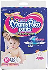 MamyPoko Pants Extra Absorb Diaper Monthly Jumbo Pack, Medium, 120 Diapers