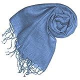 Lorenzo Cana - Luxus Schal Leinenschal 100% Leinen 70 x 180 cm Tuch Naturfaser Hellblau Modefarbe Airy Blue 93265