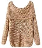 Oversize Pullover Mohair Damen Rundhals Strickpullover Winterpullover Pullover Frauen Schöne Damen Pullis Pulli Herbst Winter Braun
