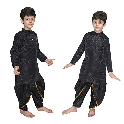 Kaku Fancy Dresses Black Polyester Dhoti Kurta Costume of Indian State Traditional Wear for 3-4 Years