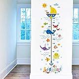 sous la Mer Hauteur Croissance de Mesure Tableau Stickers Muraux Enfant Animaux Dauphin Poisson Autocollant Décoration Murale pour Chambre Enfants Bébé Pépinière Salle de Bain