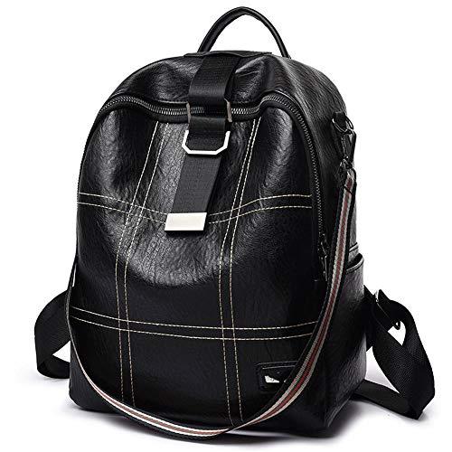AIXIAOYU Damen PU Rucksack Outdoor Freizeit Rucksack One Shoulder Messenger Bag Schwarz - One Messenger