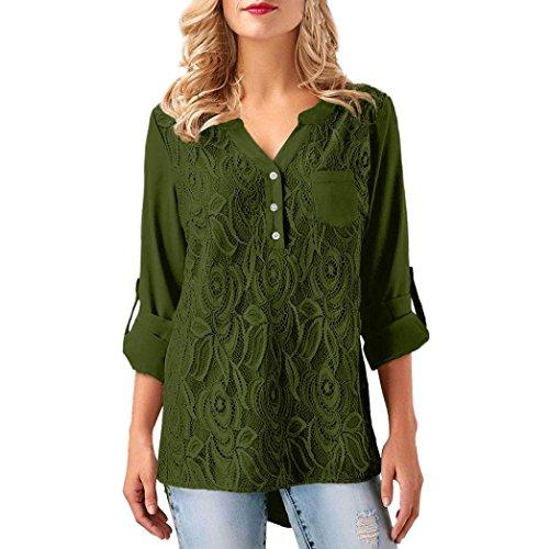 BHYDRY Frauen-Damen-Spitze-Knopf T-Shirt Langarm-Tops Bluse(XL,Armeegrün)