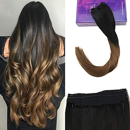Laavoo 45 cm halo hair extension capelli filo invisibile naturale remy umani veri neri ombre bruno medio flip on human hair brasiliana totale 80grammi