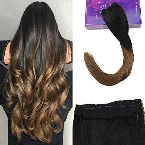 Laavoo 40 cm flip on extension capelli veri nere naturale ombre marrone medio remi real humans extension capelli veri 80grammi pezzo unico