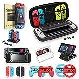 Paquete de accesorios para interruptores, kit con estuche de transporte, estuche protector con protector de pantalla, tapa de joystick, base de carga, agarre y volante para Nintendo Switch 19 en 1