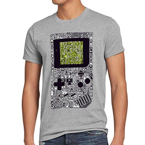style3 8-Bit Game T-Shirt da uomo pixel boy, Dimensione:L;Colore:grigio melange
