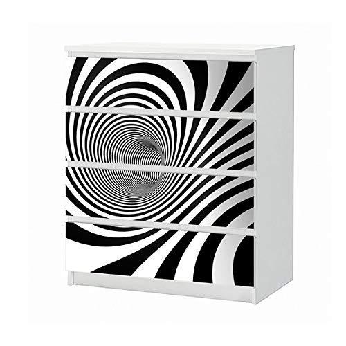 Set Möbelaufkleber für Ikea Kommode MALM 4 Fächer/Schubladen 3D Effekt Spirale Hintergrund schwarz weiß Linien abstrakt Kunst Textur Muster Aufkleber Möbelfolie sticker (Ohne Möbel) Folie 25B1092 - Abstrakte Kunst-muster