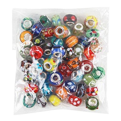 nicebuty 50piezas mucho cristal de Murano Europea mezcla Beads- Compatible con...