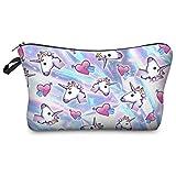 Leah's fashion®Cute Borsa da toilette Beauty Make Up Pouch borse unicorno Borsetta da Viaggio Make Up Organizzare (Heart Unicornos)
