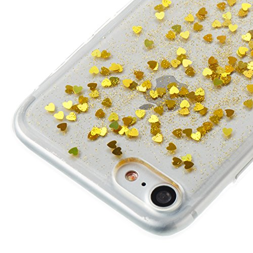 Custodia iphone 7 / iphone 8, iphone 7 / iphone 8 Cover, iphone 7 / iphone 8 Custodia Silicone,Cozy Hut Case Cover per iphone 7 / iphone 8, Shiny Sparkly Bling Bling Glitter Conchiglia Caso Guscio Sot Amore dorato