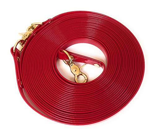 Viva Nature Biothane 26 Farben 16mm Longe Langzügel oder Schleppleine Nachsuche, rostfreie Karabiner, für Hunde und Pferde bis 900kg (19mm 10m, Translucent rot)