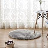 CQ Teppich PlüSch Runde Nachahmung Australian Wollteppich,Gray,30 * 30cm