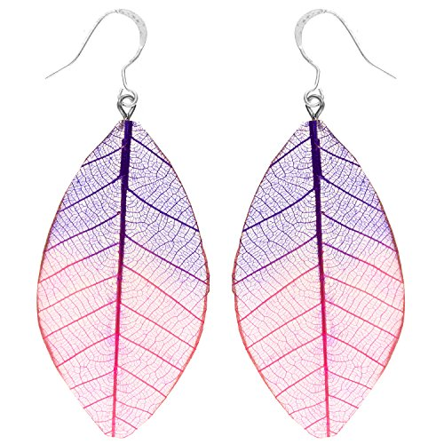 Latotsa Damen Ohrringe Ohrhänger mit echten bunten Orchidee Blättern Edelstahl Versilbert Silber Pink Lila LATWGOHR-5