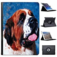 Saint Bernard Dog Close Up For Apple iPad Air 2 Faux Leather Folio Presenter Case Cover Bag with Stand Capability