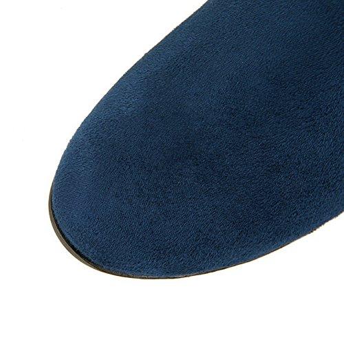 AgooLar Damen Eingelegt Mittler Absatz Ziehen Auf Rund Zehe Stiefel mit Metallisch Blau