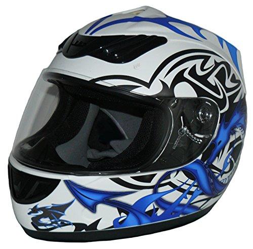 Protectwear Motorradhelm, Integralhelm,  Drachendesign (Blau/Weiß), S