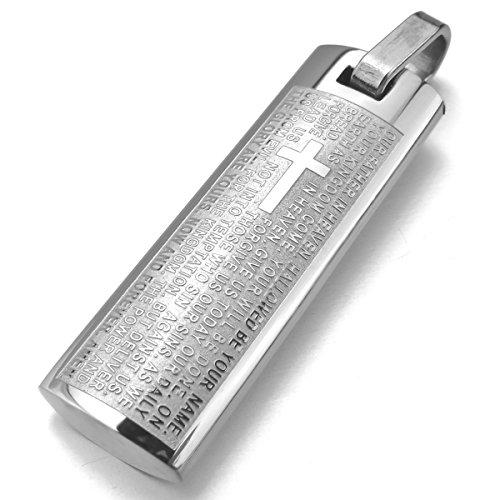 MunkiMix Edelstahl Anhänger Halskette Silber Ton Englisch Bibel Herr Gebet Kruzifix Kreuz Herren ,mit 58cm Kette
