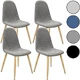 4x Deuba® Design Stuhl Esszimmerstühle Küchenstuhl • 50cm Sitzhöhe • ergonomisch geformte Sitzschale • 120kg Belastbarkeit • Stuhlbeine mit Naturholzoptik • dunkelgrau