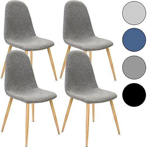 4x Deuba Design Stuhl Esszimmerstühle Küchenstuhl • 50cm Sitzhöhe • ergonomisch geformte Sitzschale • 120kg Belastbarkeit • Stuhlbeine mit Naturholzoptik • dunkelgrau