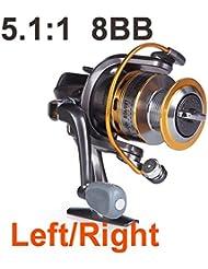 metebu (TM) 8BB roulements à billes gauche/droite interchangeable Poignée pliable moulinet de pêche haute vitesse ST50005.1: 1pour les Sport en extérieur