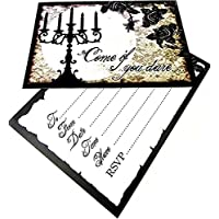 10 Gothic Invitations Card and Envelopes Party Celebration Style Vintage Family Friends Horror Halloween Themed Birthday Wedding Hen Party Anniversary Christmas