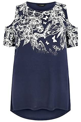 Womens Cold Shoulder Butterfly & Floral Printed Top, Plus Size 16 To 36 Size 34-36 Navy