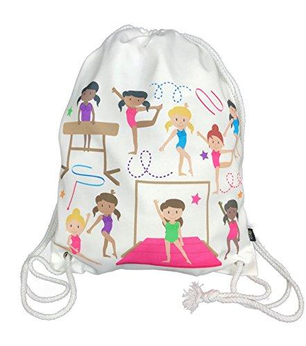 Mädchen Turnbeutel, Balletttasche Baumwolle - weiß, beidseitig mit bunten Turnerinnen bedruckt, 40x30cm, geeignet auch für Turnunterricht, Kindergarten, Krippe, Reise - Mädchen Turntasche von HECKBO