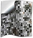 24x Gris negro blanco Lámina impresa 2d PEGATINAS lisas para pegar sobre azulejos cuadrados de 15cm en cocina, baños - resistentes al agua y aceite