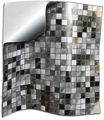 24 Gris negro blanco PEGATINAS lisas para pegar sobre azulejos cuadrados de 15cm en cocina, baños - resistentes al agua y aceite, Azulejos decorativos adhesivos de TILE STYLE DECALS
