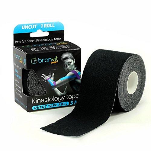 Kinesio Tape Schulter (BronVit Sport Kinesiologisches Tape Kinesiology Tape mit E-Guide - 5cm x 5m Latex Free Kinesio Tape - Bester wasserdichter Schmerzlinderungskleber für Muskeln, Schulter, Knie, therapeutische Hilfe)