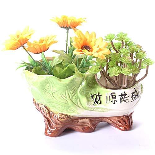 Qp-hp Charakteristische Blumentöpfe Doppeltes Loch kreative keramische grüne Pflanzentöpfe üppiger Desktop personalisierte Blumentöpfe Hauptdekoration