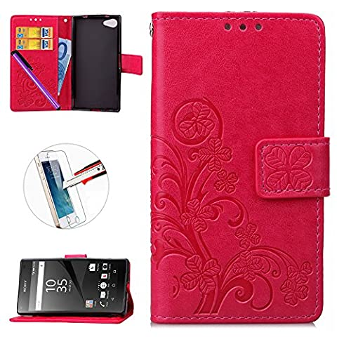 Xperia Z5 Compact Case,Sony Xperia Z5 Mini Wallet Case ,NEWSTARS Folio Flip Cover Print Printing Cell Phone Lucky Clover Embossed Mobile Cover Protect Skin Leather Case For Xperia Z5 Compact/Mini with Kickstand Card Holder +1Pcs Screen Protector + 1 Pcs Stylus Touch Pen.Clover Red