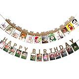 Tomkity 24 Pezzi Porta Foto con Nastri per Primo Compleanno 1 Anno per Bambini, Striscione Ghirlanda Bandierine Cornice Foto Carta Decorazione Compleanno